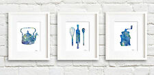 Kitchen Art Set of 3 Abstract Watercolor Paintings 11 x 14 Prints by Artist DJR