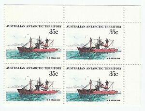 1979 - 1982 'AAT ANTARCTIC SHIPS - MS NELLA DAN' CORNER BLOCK 4 x 85c MNH STAMPS