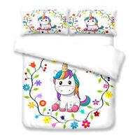 Unicorn Floral Single/Double/Queen/King Bed Doona/Duvet/Quilt Cover Set Linen