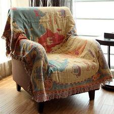 Woven Cotton Throw Reversible Blanket for Sofa Luxury with Tassel Sun Zodiac