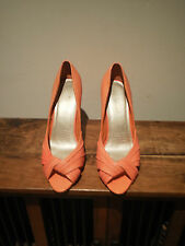WOMEN'S SPORTSGIRL CORAL LEATHER PEEP TOE HIGH HEEL SHOES - SIZE  7