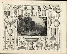 Ancient Roman Relics Goblets Fan Tools Carved Bowl c.1855 antique engraved print