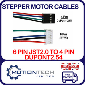 Nema17 4 wire Stepper Motor Cable - 4 Pin Dupont 2.54 / 6 Pin JST2.0 Connector