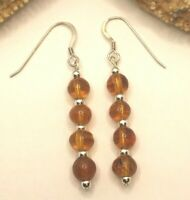 BALTIC AMBER 92.5 STERLING SILVER SHORT DROP EARRINGS NATURAL GEMSTONE 1.8 INCH