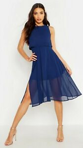 Boohoo Double layered Chiffon Dress occasion wedding guest birthday party outfit