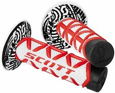 SCOTT DIAMOND HANDLEBAR GRIPS RED WHITE WITH DONUTS MOTOCROSS DIRTBIKE