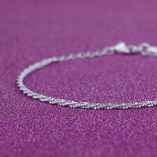 Women Silver Plated Twisted Rope Twine Simple Chain Bracelet Bangle Jewelry Hot