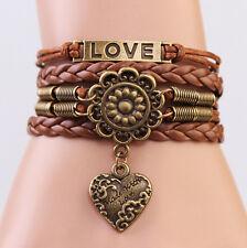 Brown Retro Infinity LOVE Heart Flower Friendship Vintage Copper Charm Bracelet