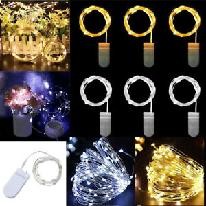 10 20 LED Micro Rice Wire Copper Fairy String Battery Lights Xmas Wedding Party