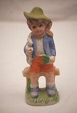 Vintage Little Boy Green Hat Bunny Rabbit Toy Bisque Figurine Shadow Box Shelf