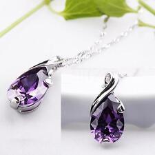 For Necklace Purple Quartz Crystal Healing Point Chakra Stone Bead Pendant II