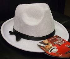 Superb Quality Unisex Gangster Fancy Dress Hat White/Black New by Smiffys