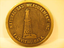 BRASS Belt Buckle NATURAL GAS MEASUREMENT Fairview, Oklahoma by HIT LINE [Y95l]