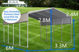 Large Steel Carport Shelter 3.3(W)x6.0(D)x2.8(H)m Single Portable Yard Backyard