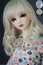 "7-8"" 1/4 BJD Medium Milky Blond Curl Wig LUTS Doll SD MSD Dollfie Soom Hair UAL#"
