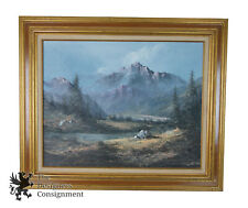 Original Signed Mountain Landscape Oil Painting Canvas Vintage Nature Scene