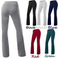 Womens Slim High Waist Yoga Pants Lounge Wide Flare Boot Leg Cut Stretch Bottom