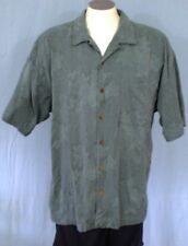 Tommy Bahama Green XL Hawaiian Shirt Solid Color Ghosted Flowers Leaves Silk