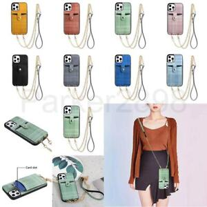 Case for iPhone 12 11 Pro XR XS Max 8 7 SE2 Crossbody Strap Leather Wallet Cover