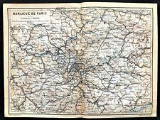 1907 ORIGINAL COLOR MAP - PARIS Town of BANLIEUE DE FRANCE - BAEDEKER - Rare