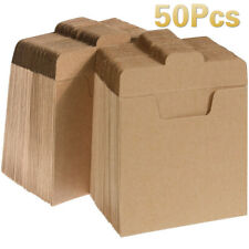 50 Packs CD Sleeves Kraft Paper DVD Envelopes CD Paper Cardboard Blank Cardboard