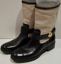 MK MICHAEL KORS Womens Black Leather & Beige Fabric Mid Height Boots US9.5 UK7.5