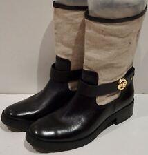 MK MICHAEL KORS Black Leather & Beige Fabric Mid Height Boots US9.5; UK7.5