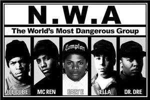 "NWA Rap Music Poster 24 x 36""  Dr Dre Eazy E Ice Cube Yella Mc Ren Compton"
