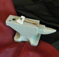 Antique Victorian GF Axe Chased Handle Mother of Pearl Rhinestone Pin C-Clasp