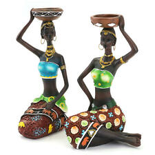 Vintage Resin Figurine Craft Candlestick African Women Beauty Lady Statue 2Pcs