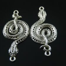 **4pcs Antiqued Silver Alloy Fancy Snake Charm Connector Jewelry Pendant 37771