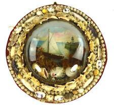 Antico Vittoriano Sea Shell Frame Diorama ARTE FOLK MARINAI Valentine
