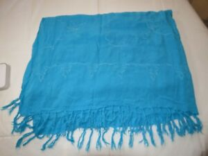 """Unbranded wrap beach cover up turquoise blue embroidered 44"""" X 59"""" EUC"""