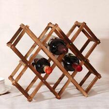 Folding Wooden Drink Bottle Holders Wine Rack 10 Bottle Holder Bar Display Shelf