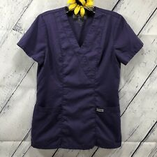 Greys Anatomy Womens Scrub Top Size XS Elastic Back Medical Dental Purple ks4229