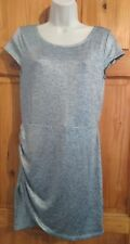 H&M silver metallic ruched short A line dress UK 16
