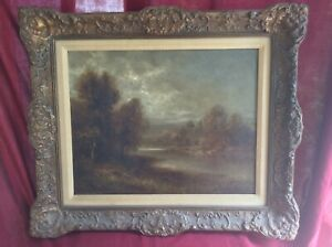 """Oil On Canvas Framed Landscape Painting By T. B. Griffin- 27"""" X 23"""" Wood Frame"""