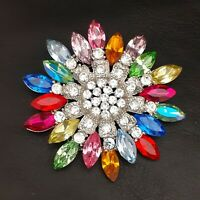 A Fabulous & Unique Large Vintage Style Rainbow Coloured Flower Brooch Pin