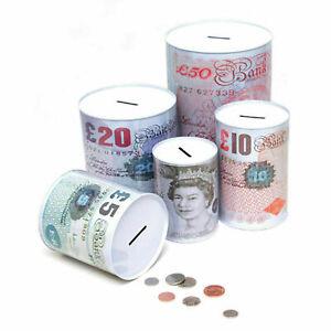 Pound Note Design Money Coin Box Tin Saving Cash Piggy Bank ,Holiday saving