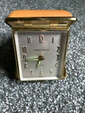 Vintage Phinney-Walker Travel Alarm Clock Radium Hands Germany Leather Case