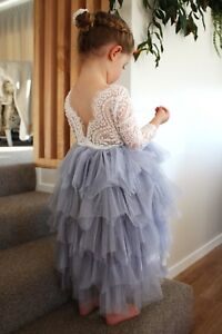 Silver Blue Vintage Style Lace Bodice Full Tutu Flower Girl Occasion Party Dress