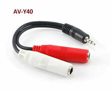 "6"" 3.5mm Stereo Male to Dual 1/4"" Mono Female Y-Splitter Cable, AV-Y40"
