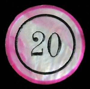 CASINO 20 VALUE MOTHER OF PEARL RADIANT PINK 32mm POKER CHIP