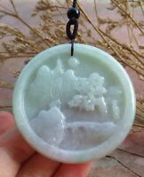 Certified Green Natural A Jade jadeite Pendant Landscape painting Tree 710511 CN