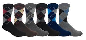 6 Pairs Men's Dress Socks Assorted Design Argyle Print Solid Plain - YOU CHOOSE!
