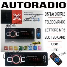 AUTORADIO CON TELECOMANDO DIPLAY DIGITALE LED LETTORE MP3 USB SD CARD OROLOGIO
