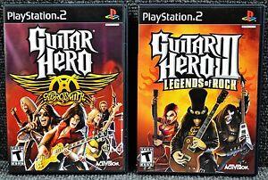 Guitar Hero Aerosmith & Guitar Hero III Legends of Rock PS2 **NO SCRATCHES**