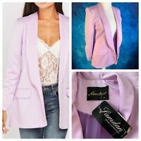 SAMDAN Ladies Lilac Jacket Size XL 14/16 Lined Sheen Fake Pockets Ruched NEW