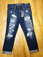 American Eagle Jegging Crop Jeans Size 20 L Distressed Super Stretch Demin X NWT