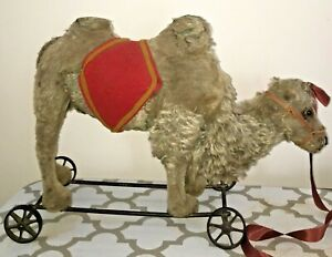 """Antique AWESOME STEIFF LARGE  MOHAIR """"CAMEL ON WHEELS"""" 1908"""